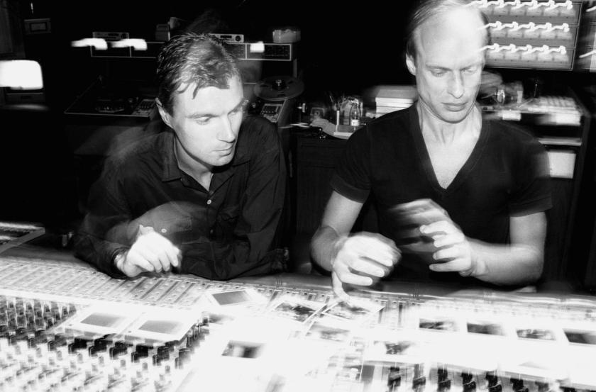 6.15 David Byrne Brian Eno control board motion blur recording studio NEW YORK CITY, 1981