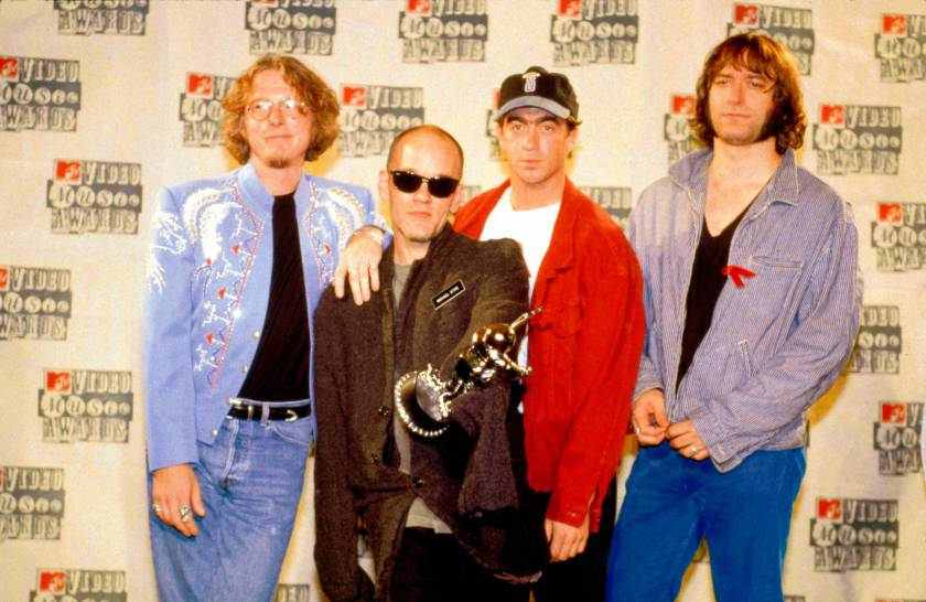 Photo of REM and Michael STIPE and Mike MILLS and Peter BUCK and Bill BERRY